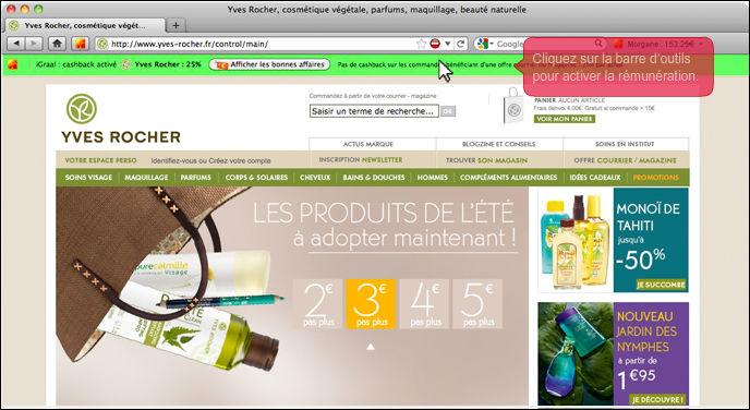 La barre iGraal sur le site d'Yves Rocher