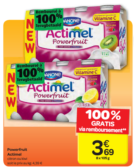 actimel powerfruit 100% remboursé